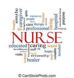 Enfermera, palabra, nube, concepto