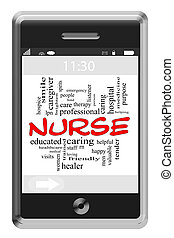 Nurse Word Cloud Concept on Touchscreen Phone - Nusre Word...