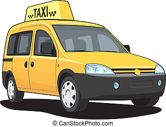 Taxi - Vector isolated yellow taxi on white background,...