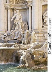 Rome, Italy. One of the most famous landmarks - Trevi Fountain, detail (Fontana di Trevi).