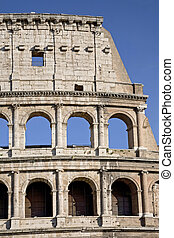 The Colosseum, the world famous landmark in Rome, vertical detail, Italy.