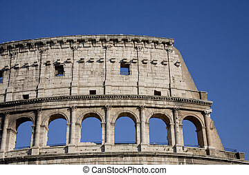 The Colosseum, the world famous landmark in Rome, Orizontal detail, Italy.