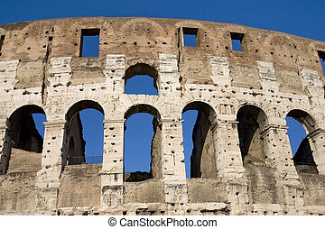The Colosseum, the world famous landmark in Rome, Orizontal detail, Italy. 2