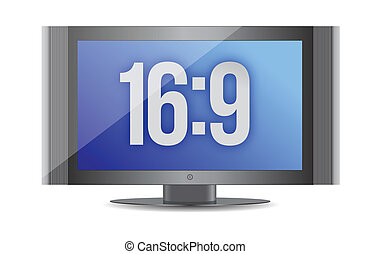 16:9 flat screen monitor illustration design over white...