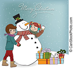 two happy girls building a snowman Vector illustration
