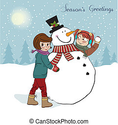 two happy girls building a snowman. Vector illustration