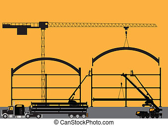 Construction Site Silhouette - Silhouette of a Construction...