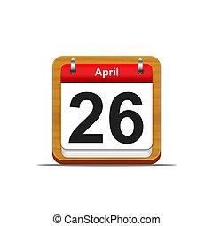 April 26. - Illustration elegant wooden calendar on white...