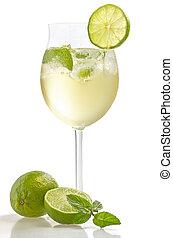 bevanda, calce, menta, vino, vetro