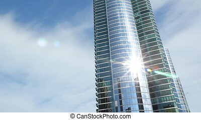 Modern condominiums - Condominiums in Chicago Sun reflection...