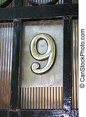Number 9 - House address plate number 9