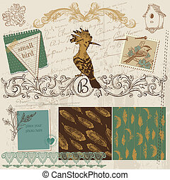 Scrapbook Design Elements - Vintage Bird Feathers - in vector