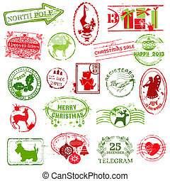 Christmas Stamp Collection -  for design, scrapbook, invitation - in vector