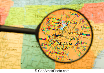 Atlanta Magnified - A map of Atlanta, Georgia seen through a...