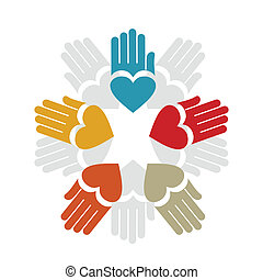 Hand5 - Five hands and hearts. A vector illustration