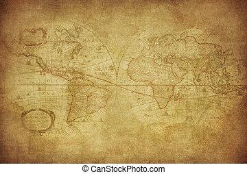 1630, Landkarte, Welt, Weinlese