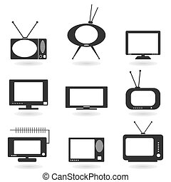 TV an icon - Set of icons of the TV. A vector illustration