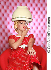 Stylish Retro Woman Having Her Hair Dried - Retro Woman...