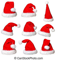 santa claus hat collection isolated on white background