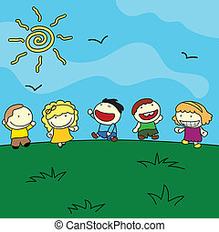 happy children outdoor background with sun and birds