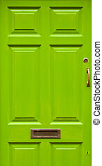House door - green typical residential house door in Ireland...