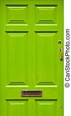 House door - green typical residential house door in Ireland...