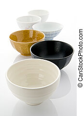 Pottery - Many rice bowl arranged on white background
