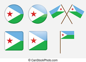 badges with flag of Djibouti
