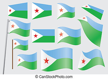 flag of Djibouti - set of flags of Djibouti vector...