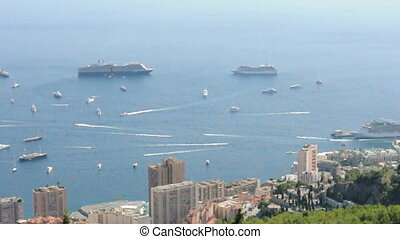Large cruise ships and yachts