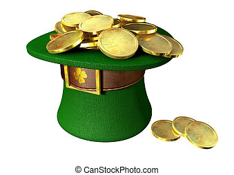 Green Leprechaun Hat Filled With Gold Coins - A green...