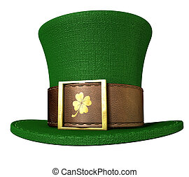 Green Leprechaun Shamrock Hat - A green material leprechaun...