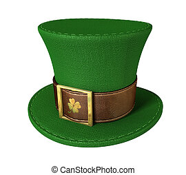 Green Leprechaun Shamrock Hat - A green material leprechaun...