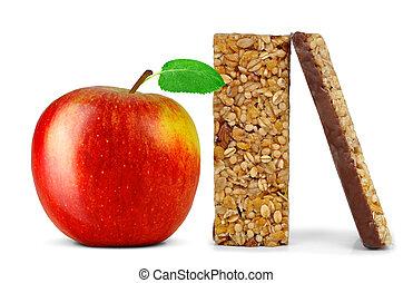 Chocolate Muesli Bars with apple isolated on white...