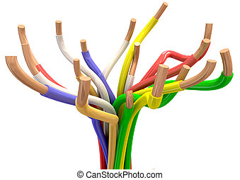 Abstract Electrical cables - Colorful electrical wires with...