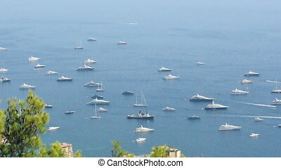 Yachts and ship in Monaco bay