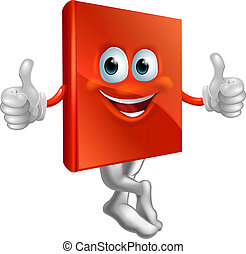 Illustration of red book character - A cartoon illustration...