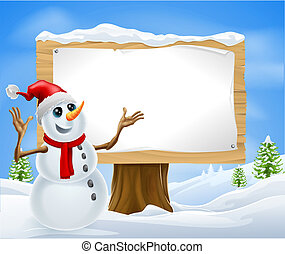 Christmas Snowman and Winter Sign - Christmas snowman with...