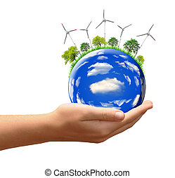 planet with wind turbines in the hands isolated on white