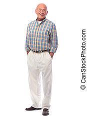 Handsome senior man standing - Full length portrait of...