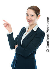 businesswoman showing on white background