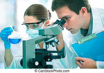 scientists working at the laboratory - Group of young...