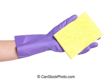 Hand in rubber glove - One hand in rubber glove with sponge...