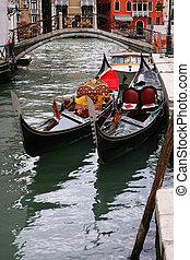 Two tradicional Venetian gondole - Italy
