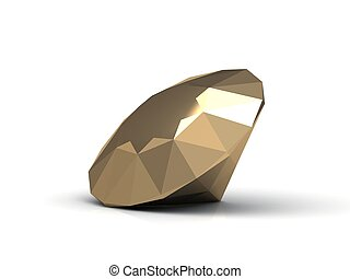 Gold diamond made in form of the diamond. 3D image Isolated...
