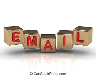 Red email sign on the gold cubes on white background