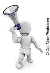Person shouting in megaphone - 3D render of someone shouting...
