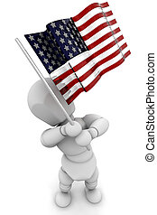 Person waving American flag - 3D render of someone waving an...
