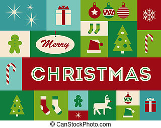 Merry Christmas card illustration icons