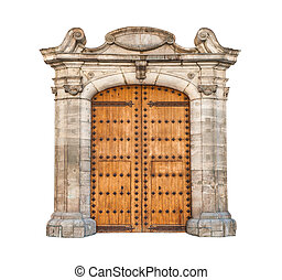 Massive doorway isolated on white background - Wooden double...